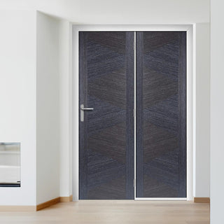 Image: ThruEasi Room Divider - Zeus Flush Ash Grey Prefinished Door with Single Side - 2018mm High - Multiple Widths
