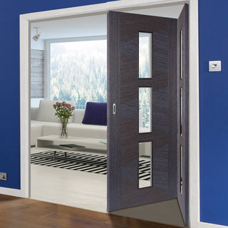 Image: Two Folding Doors & Frame Kit - Zeus Ash Grey 2+0 - Clear Glass - Prefinished