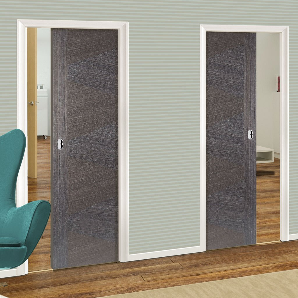 Zeus Ash Grey Unico Evo Pocket Doors Prefinished