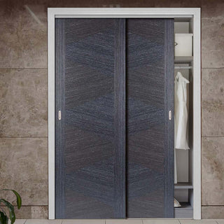 Image: Two Sliding Wardrobe Doors & Frame Kit - Zeus Flush Ash Grey Door - Prefinished
