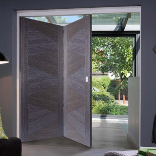 Image: Two Folding Doors & Frame Kit - Zeus Flush Ash Grey 2+0 - Prefinished