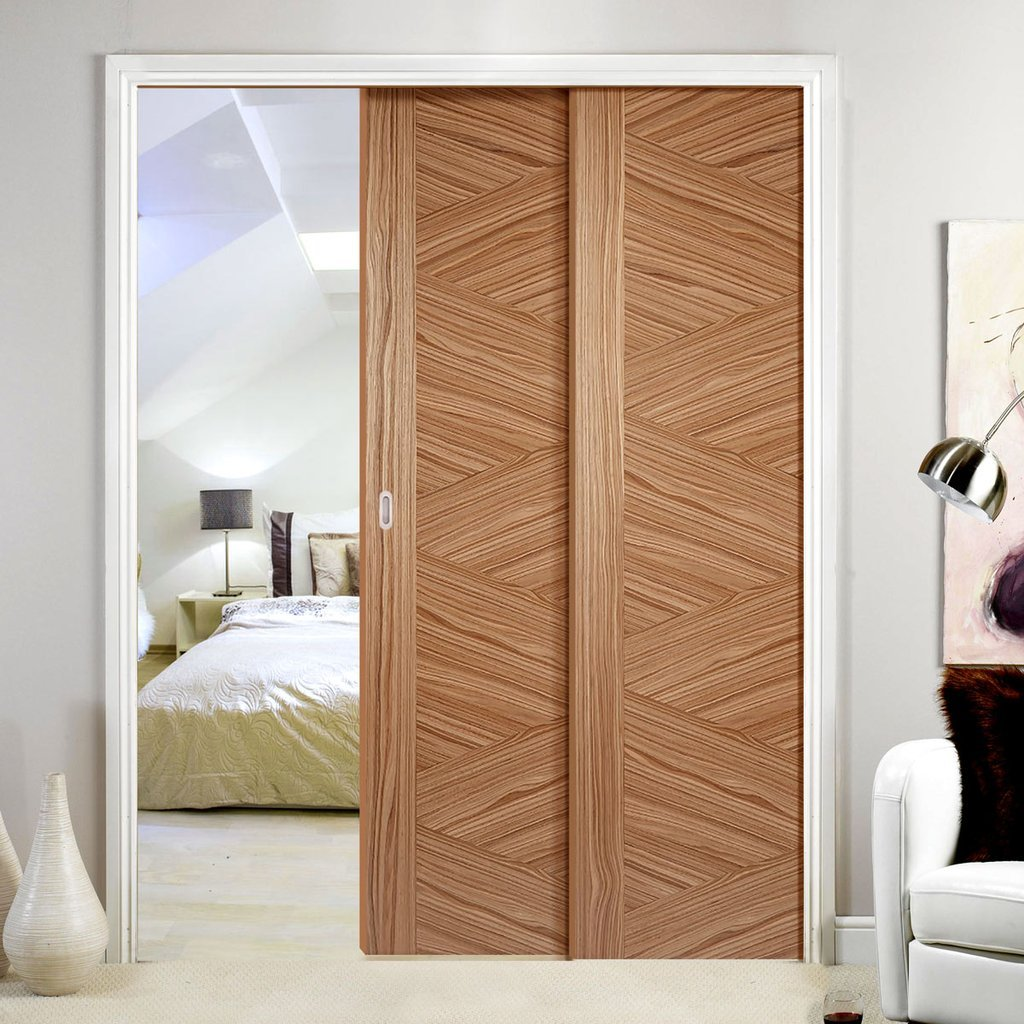 Zeus Walnut Veneer Staffetta Twin Telescopic Pocket Doors - Prefinished