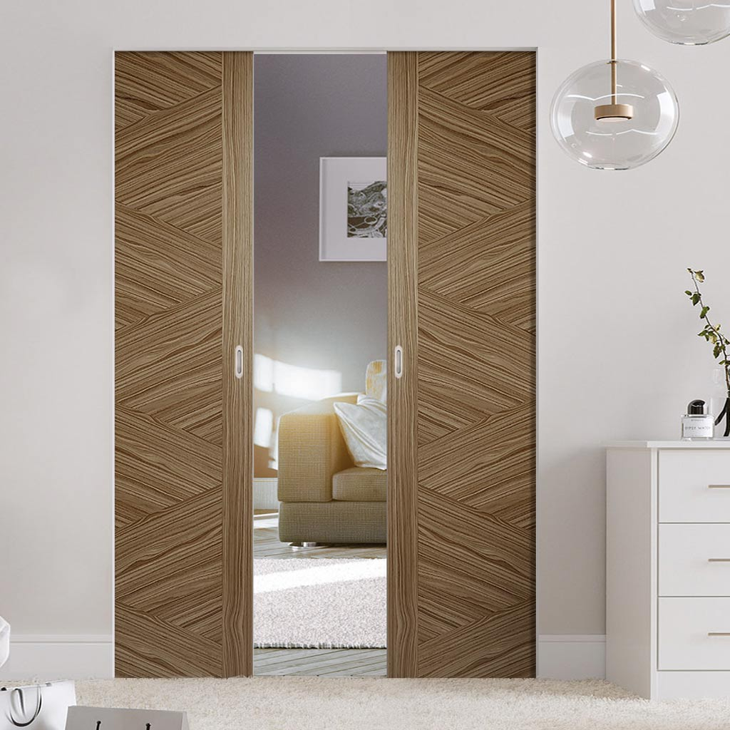 Bespoke Zeus Walnut Flush Double Frameless Pocket Door - Prefinished