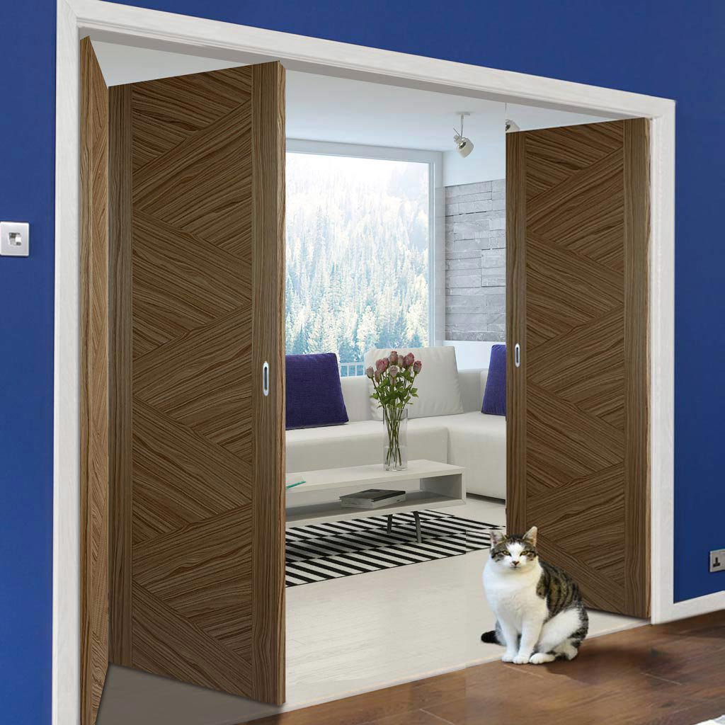 Three Folding Doors & Frame Kit - Zeus Flush Walnut 2+1 - Prefinished