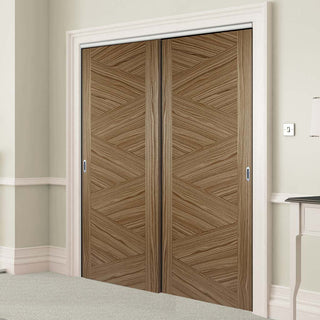 Image: Two Sliding Wardrobe Doors & Frame Kit - Zeus Flush Walnut Door - Prefinished