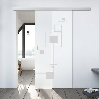 Image: Single Glass Sliding Door - Geometric Zoom 8mm Obscure Glass - Obscure Printed Design with Premium Track