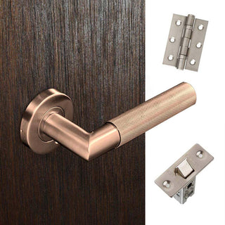Image: Zurich Door Handle Pack -Satin Copper