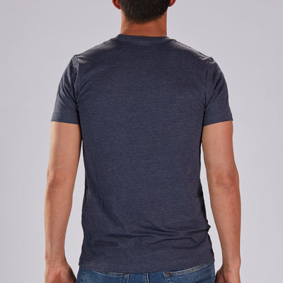 "Men's LIMITED EDITION COTTON TEE - HEATHER NAVY ""SQUADRA PATCH"""