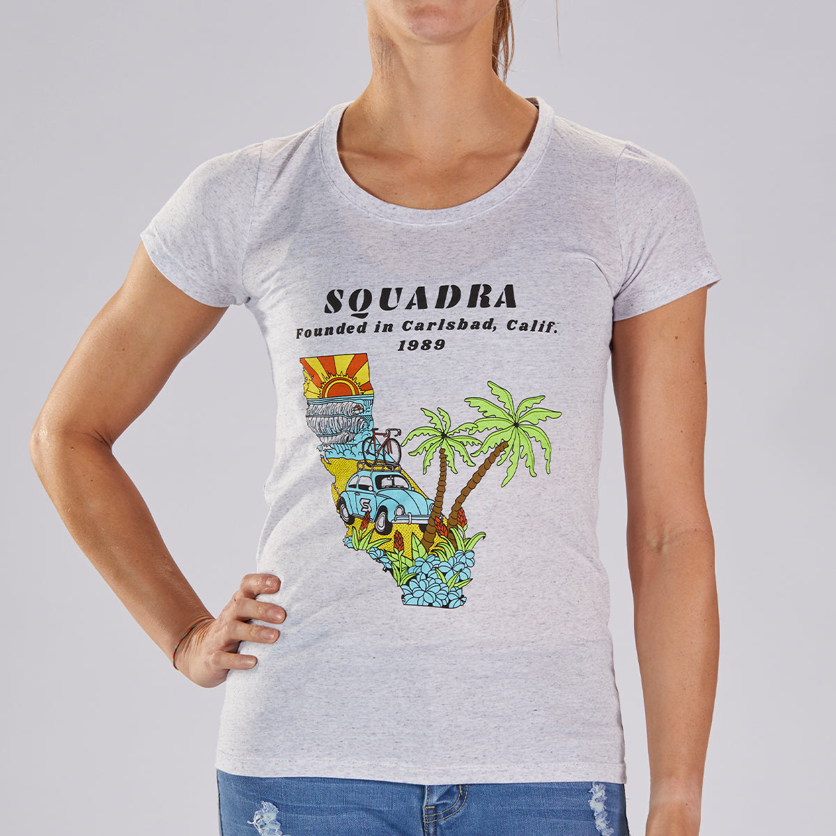 "WOMENS LIMITED EDITION COTTON TEE - WHITE FLECK ""SQUADRA CALIFORNIA"""
