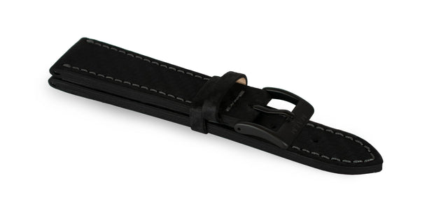 New! Black Carbon Leather Waterproof Strap - malmwatches.com