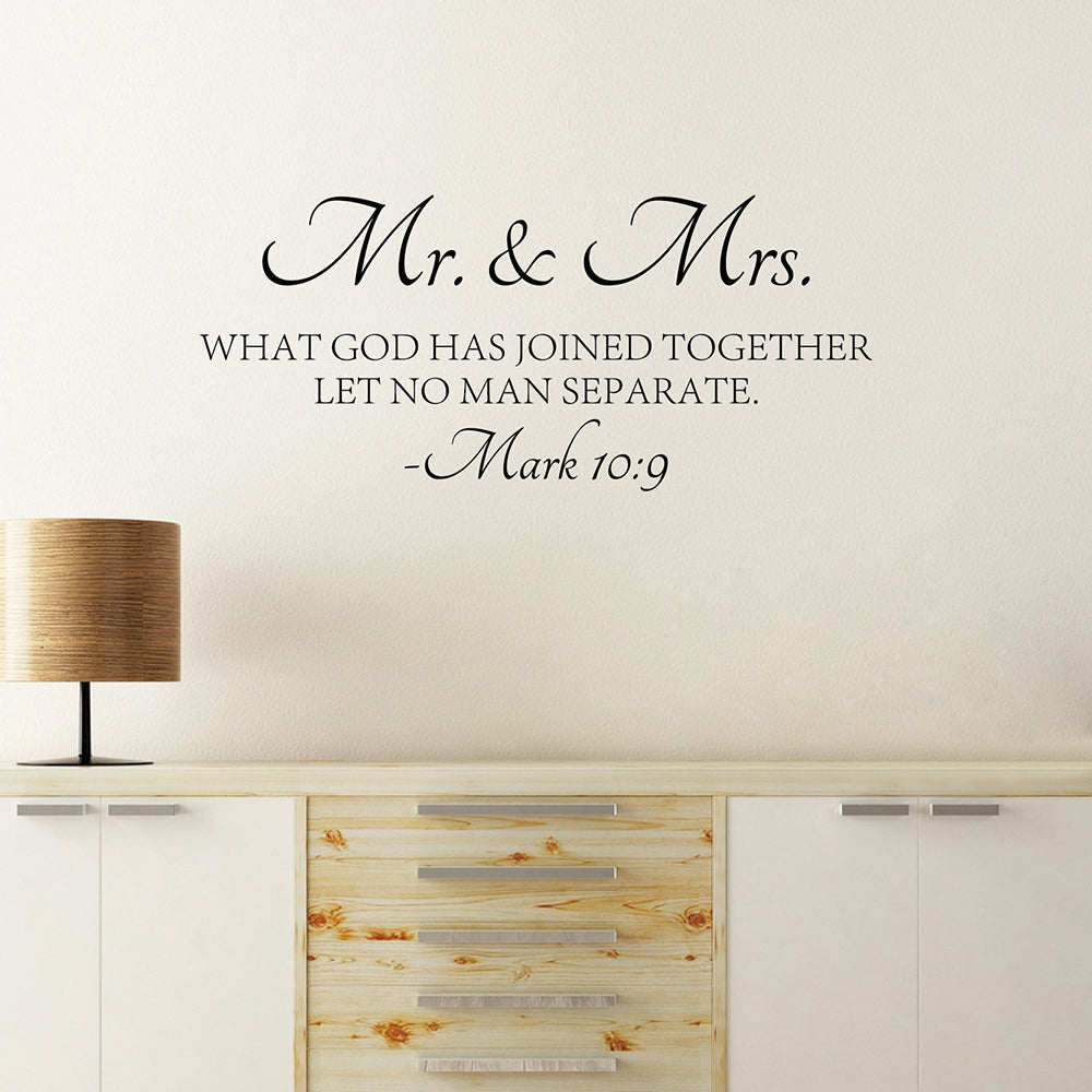 Mr & Mrs Quote Wall Sticker Bible Love Quotes Wall Decal High Quality Cut Vinyl Removable Wall Decors