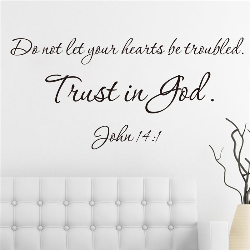 christ bible trust in god quotes vinyl wall art decals for living room indoor home decor diy black stickers decoration
