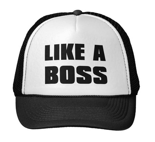 Like A Boss Letters Print Baseball Cap Trucker Hat For Women Men Unisex Mesh Adjustable Size Black White Drop Ship M-71