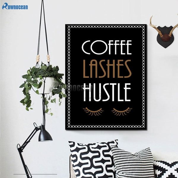 "Removable Wall Art ""Coffee Lashes Hustle"" various sizes"
