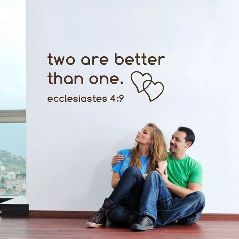 "free shipping bible wall sticker ""two are better than one""Religion love words with heart wall vinyl quote stickers,home decals"