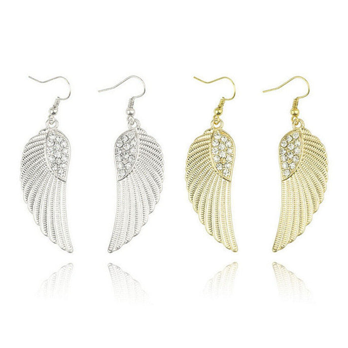 Rhinestone Angel Wings Earrings