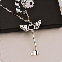 Angel wings key Silver Necklace Long chain