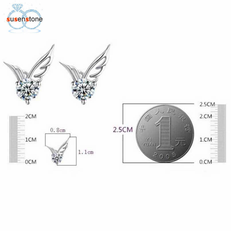 SUSENSTONE Women Fashion Elegant Angel Wings Wings Earrings Ear Jewelry