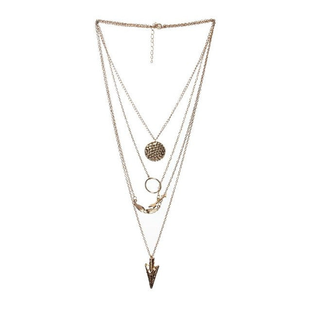 Angel wings irregular multi-layer Necklace Women Multilayer Irregular Crystal Gold Pendant Chain Statement Necklace #gh30