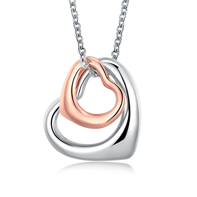 Double Love Heart Pendant Necklace Elegant Alloy Jewelry for Friend And Lovers