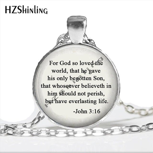 """God so loved the world"" John 3:16 Inspirational Necklace"