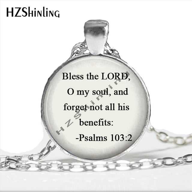 2017 New Fashion Inspirational Necklace Bible Psalms Jewelry Bible Necklace Psalms 103:2 Bible Verse Bless the lord Jewelry HZ1