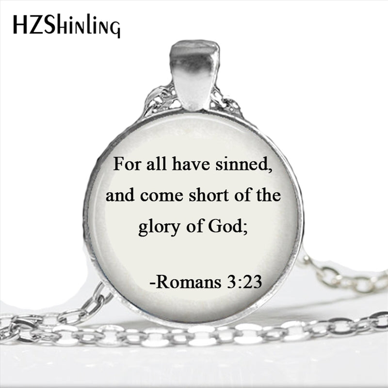 2017 New Design Epistle to the Romans Necklace Handmade Trendy Bible Quote Necklace Glass Dome Jewelry for Christian HZ1