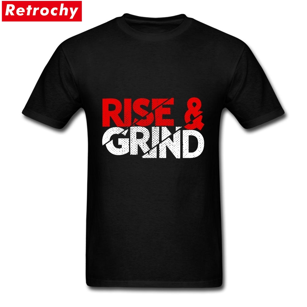 Casual Rise And Grind Entrepreneur Quotes Tee Shirts  Boys Custom Cotton Short Sleeve Big Size T Shirts