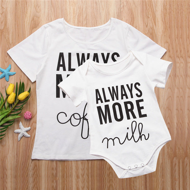 Family Matching Clothes 2018 Summer Short Sleeve Cotton T-shirt Family Casual Mother And Boys Girls White T Shirt Familys Look