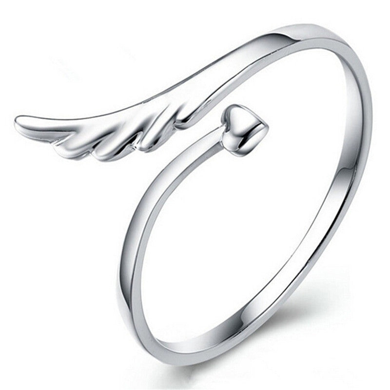 Elegant 925 Silver Heart Cut Angel Wings Shape Cuff Opening Ring