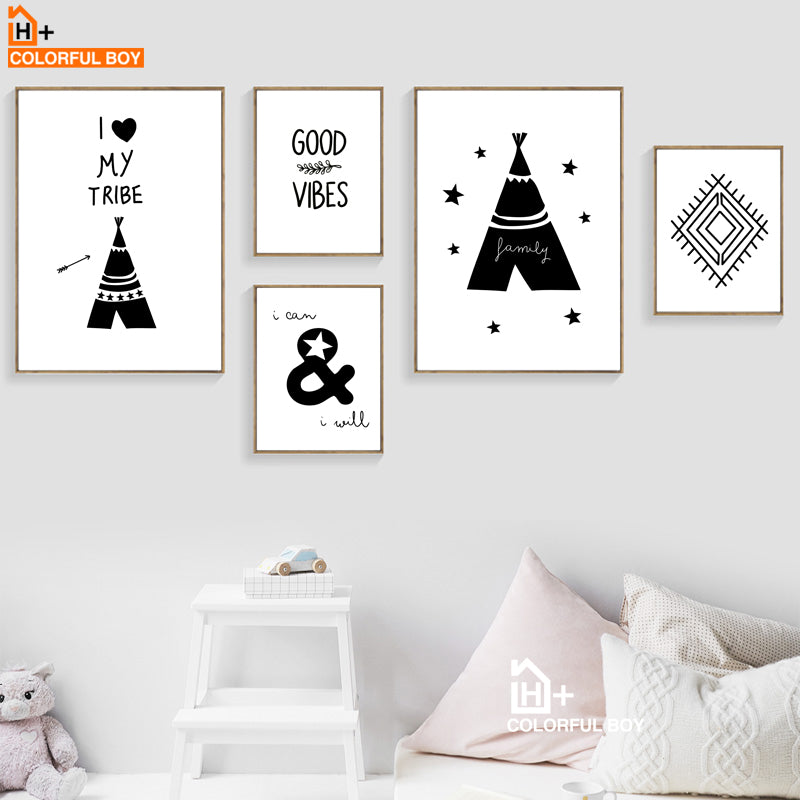 COLORFULBOY Tribe Good Vibe Quote Wall Art Print Canvas Painting Nordic Poster Black White Cartoon Wall Pictures Kids Room Decor