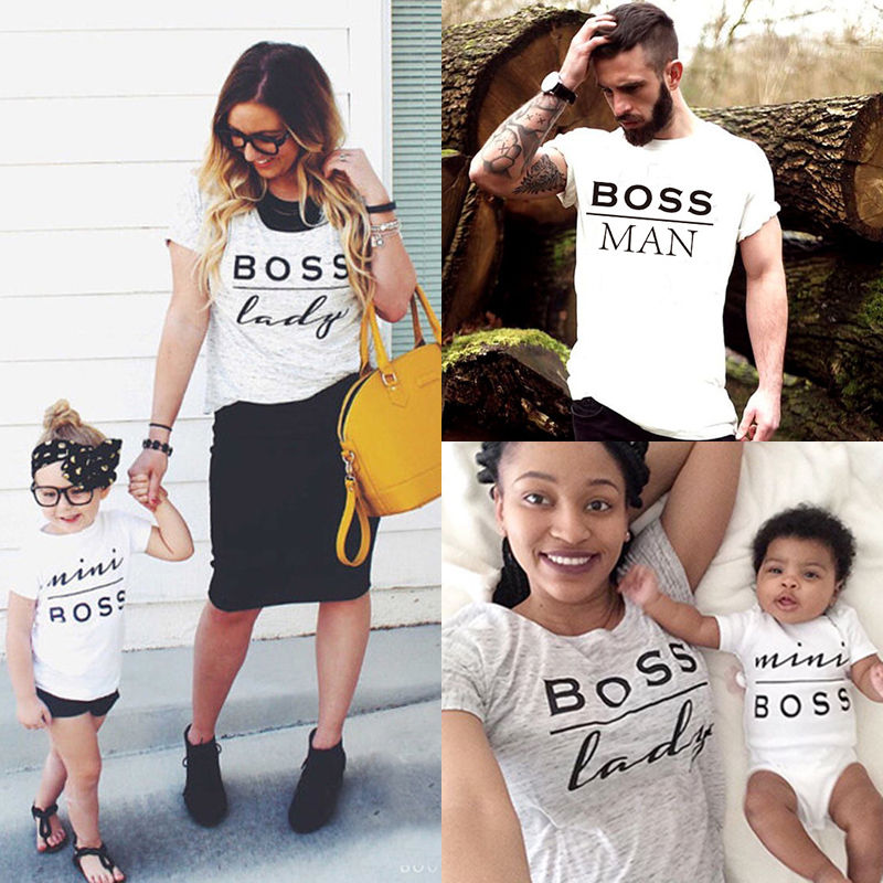 Summer Family Matching Outfits Mommy Daddy Kid Son Baby T-Shirt Shirts Family Clothes Child Tees Letter Print Tops Photography
