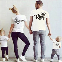 Matching Family Clothes King Queen Couples T shirt 2018 Summer Casual Solid Short Sleeve Cotton T-shirt Crown Printed Funny Tops