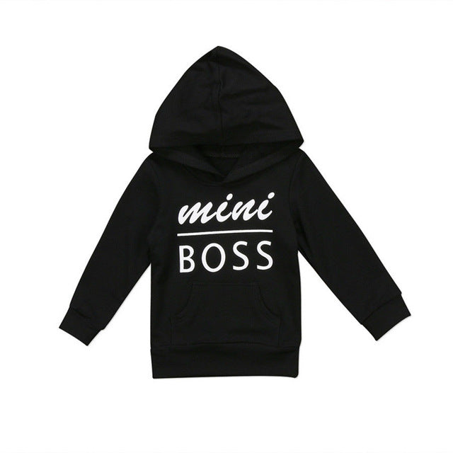 Newborn Autumn Hooded Top Baby boy Mini Boss Print Hoodies Children Long Sleeve Letter Sweatshirts Cotton Casual Wear