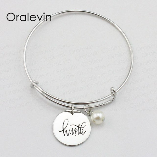 HUSTLE Inspirational Hand Stamped Engraved Charm Pendant Wire Expandable Bracelet Bangle Fashion Jewelry, #LN2068B