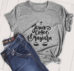 Jesus Coffee & Mascara Lashes Faith Cross Soft Style Unisex fashion Christian slogan make up girl style aesthetic t-shirt tees