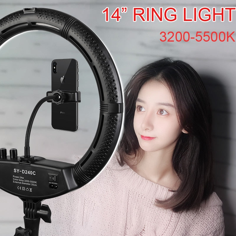 "Photo Studio 14"" Ring Light 24W 3200-5500K Stepless adjusted Warm& Cold Lighting Lamp Photographic Light with 2 Phone Holder"