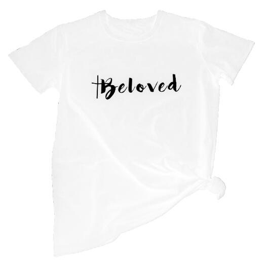 Beloved Funny Graphic T-Shirt Casual Stylish Grunge Hipster Cross Faith Lover Shirt Faith quote slogan vintage cotton girl tops