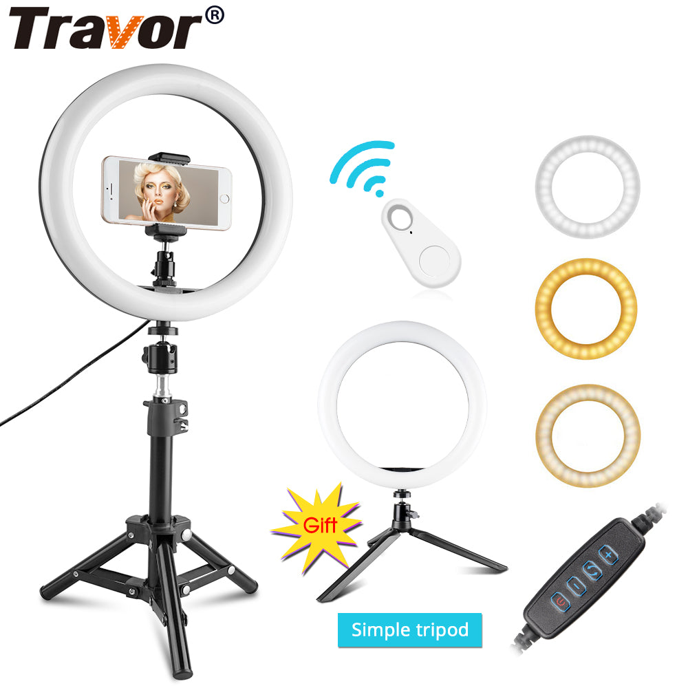 "10"" Ring Light with Tripod Phone Holder Bluetooth Dimmable For Youtube Video Live Photo ringlight"