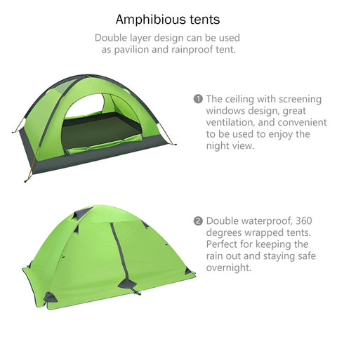 Waterproof Backpacking Tent by LULULION. Two Doors Double Layer Anti-UV with Aluminum Rods  sc 1 st  Milau0027s Deals & Waterproof Backpacking Tent by LULULION. Two Doors Double Layer Anti ...
