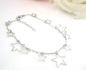 Silver Pentacle Star Ankle Bracelet Barefoot Sandal Beach Foot Jewelry