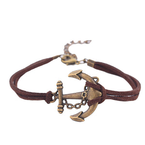 Retro Nostalgia Leather Anchors Bracelets