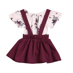 2Pcs Infant Baby Girls Floral Print Rompers Jumpsuit Strap Skirt Outfits Set