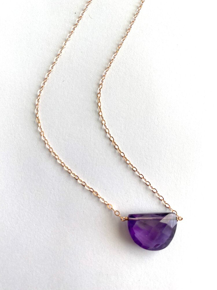 The Half Moon Necklace -- Amethyst