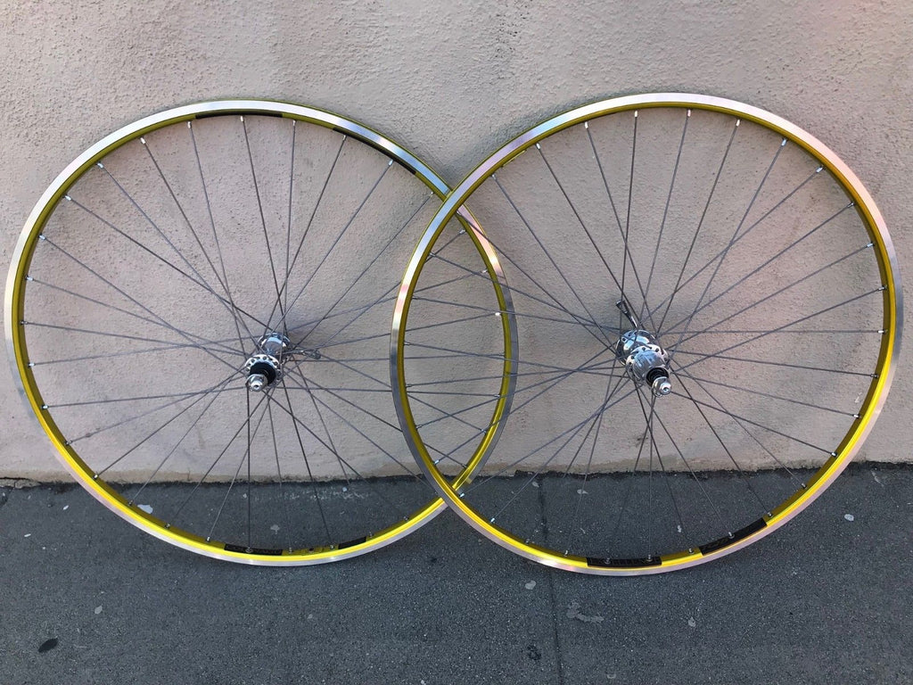Colnago Ambrosio Excellence TQB Record Hub Wheelset 700c Clincher GOLD 9-11speed - Vintage By Velo