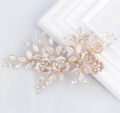 Rose Gold Flower With Rhinestones Bridal Hair Clip