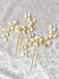 Set of 2 Bride Gold pearl crystal hair pin - BCW accessories