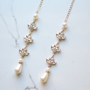 Pearl Crystal Backdrop Bridal Necklace
