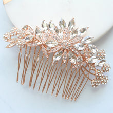Load image into Gallery viewer, Crystal Rhinestones Flower Bridal Hair Comb