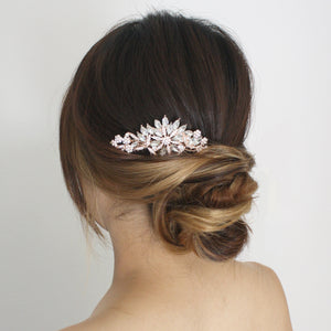 Crystal Rhinestones Flower Bridal Hair Comb